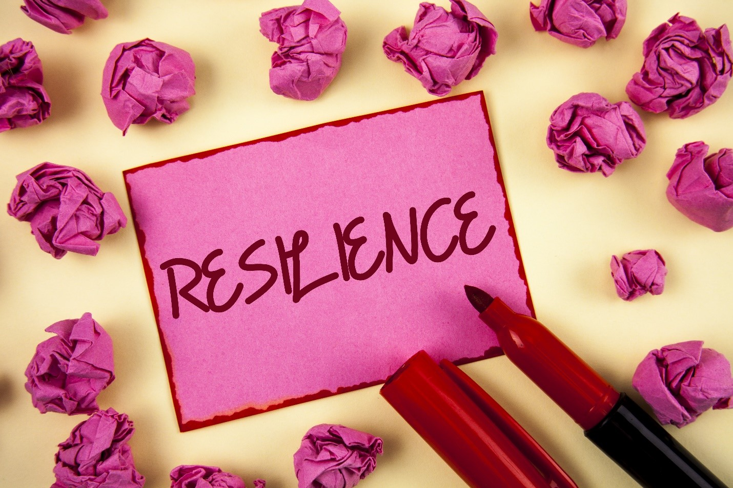 The word resilience on a pink background