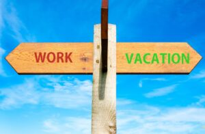 Image of the word work and vacation